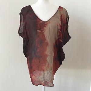 Helmut Lang silk tie dyed top